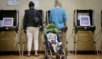 Nolan Lakvold, 17 months, waits for his mother, Kathryn Lakvold, right, to finish voting on Election Day in Augusta, Ga., Tuesday, Nov. 6, 2018. (Michael Holahan/The Augusta Chronicle via AP)