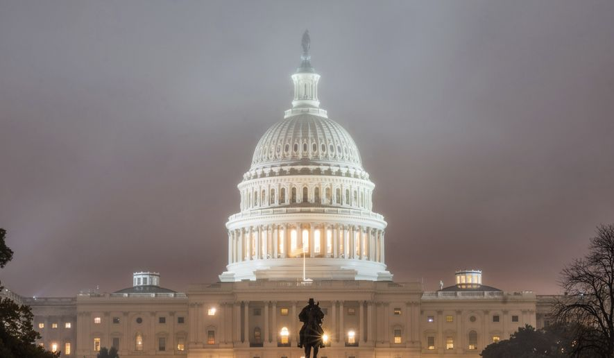 The U.S. Capitol Building in Washington is shrouded in fog early in the morning Tuesday, Nov. 6, 2018, on Election Day in the U.S. (AP Photo/J. David Ake)