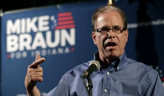 This May 8, 2018, file photo, shows then-Republican Senate candidate Mike Braun as he thanks supporters after winning the Republican primary in Whitestown, Ind. (AP Photo/Michael Conroy, File)