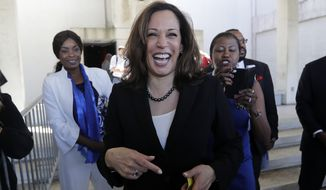 U.S. Sen. Kamala Harris, D-Ca., leaves a campaign event for Democratic candidate for Florida governor Andrew Gillum, Monday, Oct. 29, 2018, at Miami Dade College in Miami. (AP Photo/Lynne Sladky)