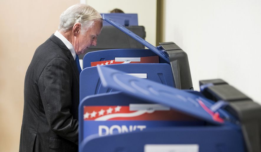 South Carolina Gov. Henry McMaster votes at a polling station Tuesday, Nov. 6, 2018, in Columbia, S.C. (AP Photo/Sean Rayford)