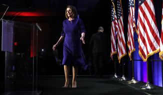 House Democratic Leader Nancy Pelosi arrives to speak to a crowd of volunteers and supporters of the Democratic party at an election night event at the Hyatt Regency Hotel, on Tuesday, Nov. 6, 2018, in Washington. (AP Photo/Jacquelyn Martin)