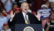 Radio personality Rush Limbaugh introduces President Donald Trump at the start of a campaign rally Monday, Nov. 5, 2018, in Cape Girardeau, Mo. (AP Photo/Jeff Roberson)