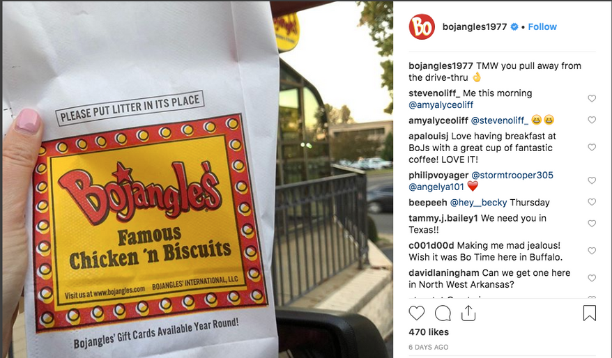 Screen capture from the Bojangles official Instagram account. The chicken-and-biscuits fast-food chain is going private, the company announced on Nov. 6, 2018.