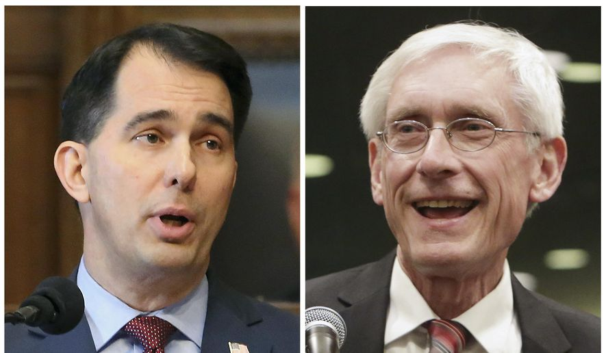 This combination of file photos shows Wisconsin Republican Gov. Scott Walker, left, and his Democratic challenger Tony Evers in the 2018 November general election. (Wisconsin State Journal via AP, File)