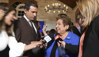 Congressional District 27 Democratic candidate Donna Shalala is interviewed following her victory over Republican television journalist Maria Elvira Salazar at the Coral Gables Woman's Club, Tuesday, Nov., 6, 2018, in Coral Gables, Fla. (Emily Michot/Miami Herald via AP)
