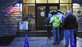 A line of voters waits for the polls to open outside St. Joseph the Worker Catholic Church, Tuesday, Nov. 6, 2018, in Mankato, Minn. (Pat Christman/The Free Press via AP)