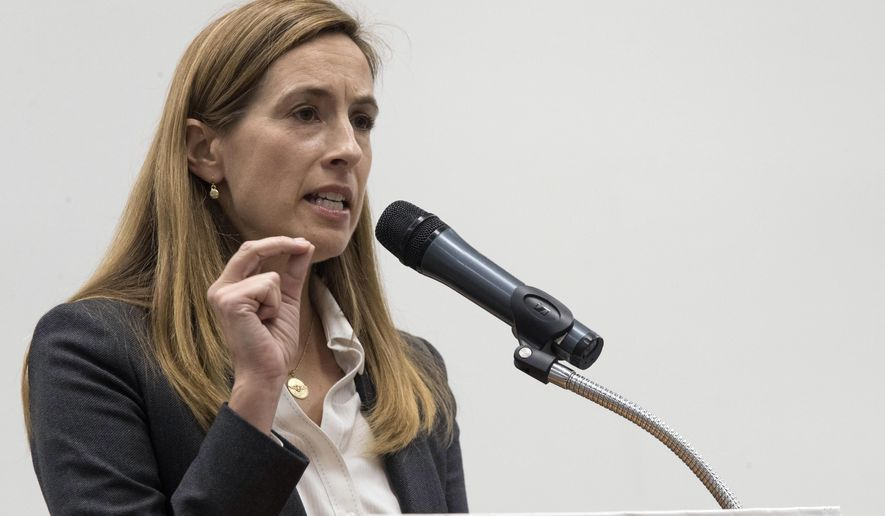 FILE- In this Oct. 9, 2018 file photo, Democratic congressional candidate Mikie Sherrill speaks during a candidate forum at the UJC of MetroWest New Jersey in Whippany, N.J. Sherrill is running for the House of Representatives in New Jersey's 11th Congressional District. (AP Photo/Mary Altaffer, File)