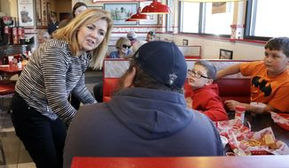 Rep. Marsha Blackburn, R-Tenn., campaigns at Freddy's Frozen Custard & Steakburgers, Tuesday, Nov. 6, 2018, in Clarksville, Tenn. Blackburn is running against former Gov. Phil Bredesen for the U.S. Senate. (AP Photo/Mark Humphrey)