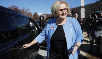 Incumbent Sen. Claire McCaskill, D-Mo., leaves her polling place after voting Tuesday, Nov. 6, 2018, in Kirkwood, Mo. (AP Photo/Jeff Roberson)