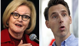 FILE - This combination of file photos shows Missouri U.S. Senate candidates in the November 2018 election from left, Democratic incumbent Sen. Claire McCaskill and Republican challenger Josh Hawley. (AP Photo/Jeff Roberson, File)