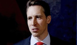 FILE - In this Oct. 25, 2018 file photo, Republican Missouri U.S. Senate candidate Josh Hawley talks to the media after a debate against incumbent Democratic Sen. Claire McCaskill in Kansas City, Mo. (AP Photo/Charlie Riedel, File)