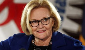 In this Oct. 31, 2018 file photo, Missouri U.S. Sen. Claire McCaskill, D-Mo., speaks during a campaign rally in Bridgeton, Mo. (AP Photo/Jeff Roberson, File)