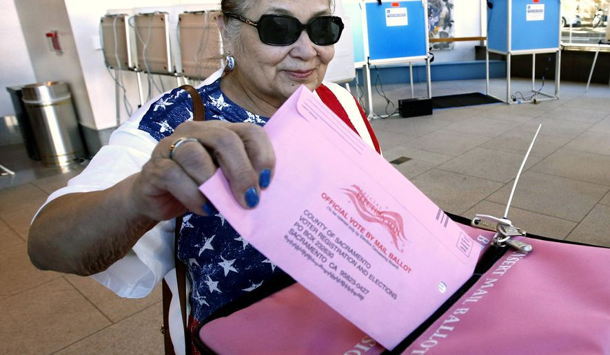 Yolanda Jimenez casts her mail-in ballot in at the voting center at the California Museum Monday, Nov. 5, 2018, in Sacramento, Calif. Voters will pick a new governor and weigh in on contests for the U.S. Senate, Congress, the state Legislature and ballot measures along with local candidates and issues. (AP Photo/Rich Pedroncelli)