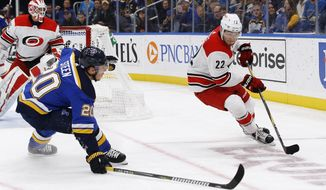 Carolina Hurricanes' Brett Pesce, right, handles the puck as he is pressured by St. Louis Blues' Alexander Steen during the second period of an NHL hockey game Tuesday, Nov. 6, 2018, in St. Louis. (AP Photo/Billy Hurst)