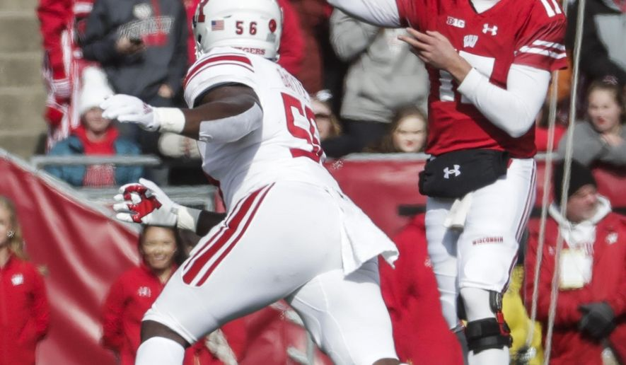 Wisconsin's Jack Coan throws during the second half of an NCAA college football game against Rutgers Saturday, Nov. 3, 2018, in Madison, Wis. (AP Photo/Morry Gash)