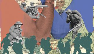 Illustration on the end of World War I by Linas Garsys/The Washington Times