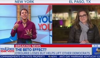 "Robin Roberts of ABC's ""Good Morning America"" talks about the midterm election results with colleague Paula Faris, Nov. 7, 2018. (Image: ""GMA"" video screenshot)"