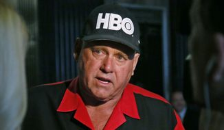 In this June 13, 2016, file photo, Dennis Hof, owner of the Moonlite BunnyRanch, a legal brothel near Carson City, Nevada, is pictured during an interview in Oklahoma City. Hof, who died last month after fashioning himself as a Donald Trump-style Republican candidate, has won a heavily GOP state legislative district. Hof defeated Democratic educator Lesia Romanov on Tuesday, Nov. 8, 2018, in the race for Nevada's 36th Assembly District. (AP Photo/Sue Ogrocki, File)