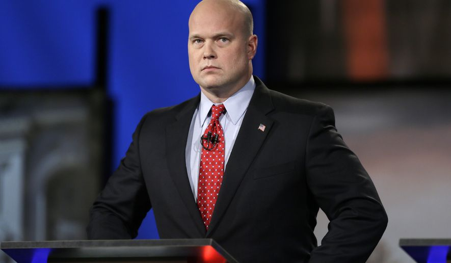 In this April 24, 2014, file photo, then-Iowa Republican senatorial candidate and former U.S. Attorney Matt Whitaker watches before a live televised debate in Johnston, Iowa. President Donald Trump announced in a tweet that he was naming Whitaker, as acting attorney general, after Attorney General Jeff Sessions was pushed out Nov. 7, 2018, as the country's chief law enforcement officer after enduring more than a year of blistering and personal attacks from Trump over his recusal from the Russia investigation. (AP Photo/Charlie Neibergall) **FILE**