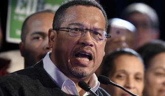 Minnesota Attorney General-elect Keith Ellison speaks during the election night event held by the Democratic Party Tuesday, Nov. 6, 2018, in St. Paul, Minn. (AP Photo/Hannah Foslien)