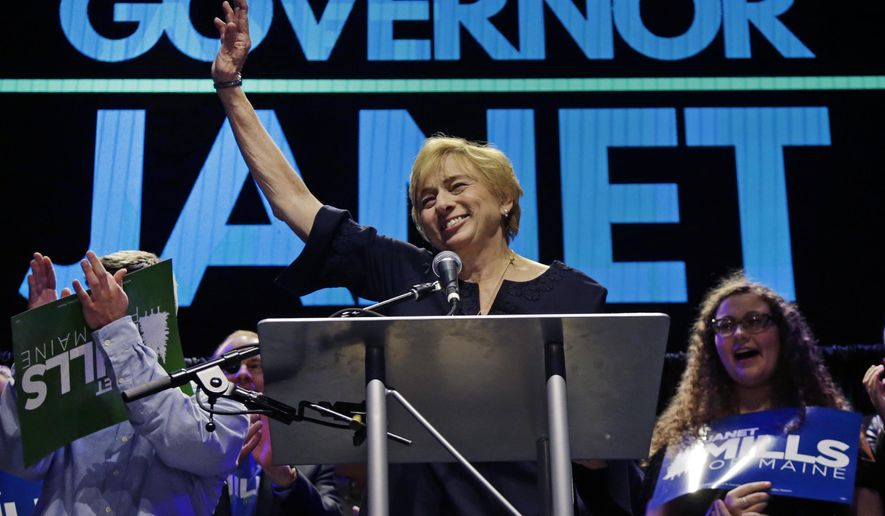 Maine gubernatorial candidate, Democrat Janet Mills celebrates her victory at her election night party, Tuesday, Nov. 6, 2018, in Portland, Maine. (AP Photo/Elise Amendola)