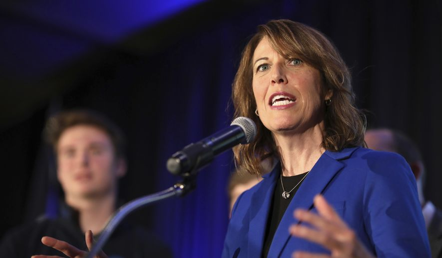 In this file photo, Iowa Democratic Congressional candidate Cindy Axne delivers her acceptance speech for Iowa's 3rd Congressional District at the Iowa Democratic election night party, Wednesday, Nov. 7, 2018, in Des Moines, Iowa. Now in her second term in Congress, Ms. Axne is a target of the conservative group Americans for Prosperity, which is hoping to persuade House Democrats in vulnerable districts to vote no on key items of President Biden's economic agenda.  (AP Photo/Matthew Putney)  **FILE**