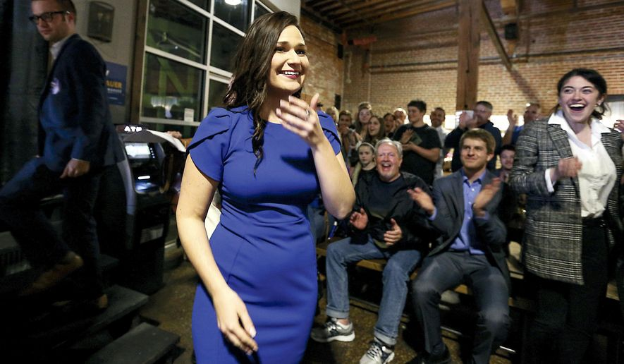 Abby Finkenauer celebrates after she won the election for Iowa's 1st Congressional District, Tuesday, Nov. 6, 2018, in Dubuque, Iowa. (Eileen Meslar/Telegraph Herald via AP)