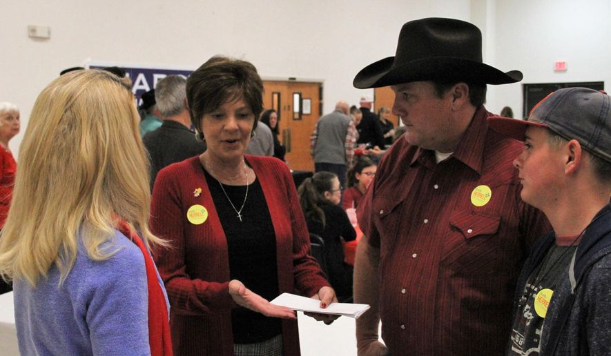 Congressional District 2 Republican candidate Yvette Herrell talks to supporters at the Republican Party of Otero County 2018 midterm election watch party in Alamogordo, N.M., Tuesday, Nov. 6, 2018. (Duane Barbati/Alamogordo Daily News via AP)