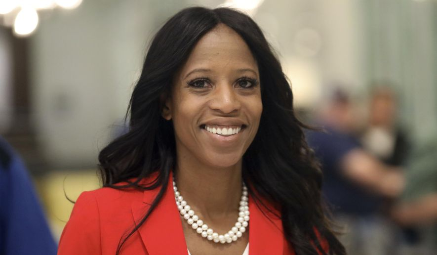 Republican U.S. Rep. Mia Love walks to greets supporters during an election night party Tuesday Nov. 6, 2018, in Lehi, Utah. (AP Photo/Rick Bowmer)
