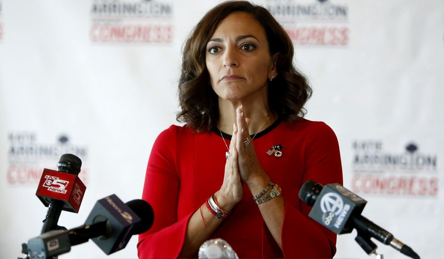 Republican nominee for Congress Katie Arrington concedes the race to Democrat Joe Cunningham during her press conference at the Staybridge Suites in Mt. Pleasant, S.C., Wednesday, Nov. 7, 2018. (AP Photo/Mic Smith)