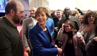 Wisconsin Democratic Sen. Tammy Baldwin and supporters react to early favorable results from the Wisconsin governors race on the large screen televisions at an election night party Tuesday Nov. 6, 2018, in Madison, Wis. Baldwin won in her re-election bid against Republican Leah Vukmir. (Steve Apps/Wisconsin State Journal via AP)