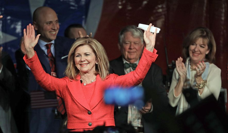 Rep. Marsha Blackburn, R-Tenn., greets supporters after she was declared the winner over former Gov. Phil Bredesen in their race for the U.S. Senate Tuesday, Nov. 6, 2018, in Franklin, Tenn. (AP Photo/Mark Humphrey) ** FILE **