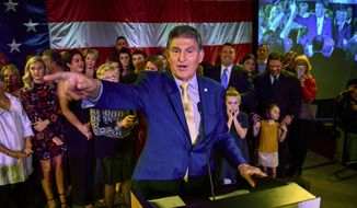Sen. Joe Manchin, D-W.va., calls out to his supporters after he was re-elected Tuesday, Nov. 6, 2018, in Charleston, W.Va. (AP Photo/Tyler Evert)