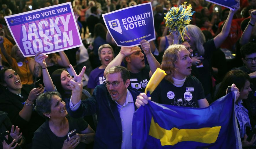People cheer as returns come in for Senate candidate Rep. Jacky Rosen, D-Nev., at a Democratic election night party Tuesday, Nov. 6, 2018, in Las Vegas. (AP Photo/John Locher)