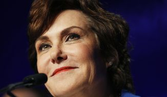 Rep. Jacky Rosen, D-Nev., speaks at a Democratic election night party after wining beating Sen. Dean Heller, R-Nev., Wednesday, Nov. 7, 2018, in Las Vegas. (AP Photo/John Locher)