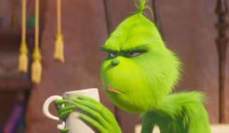 "This image released by Universal Pictures shows the character Grinch, voiced by Benedict Cumberbatch, in a scene from ""The Grinch."" (Universal Pictures via AP)"