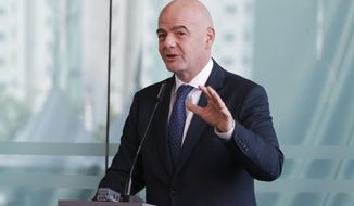 FIFA President Gianni Infantino speaks during an inauguration ceremony for the new building of the Asia Football Confederation in Kuala Lumpur, Malaysia  Tuesday, Oct. 30, 2018. (AP Photo/Vincent Thian)