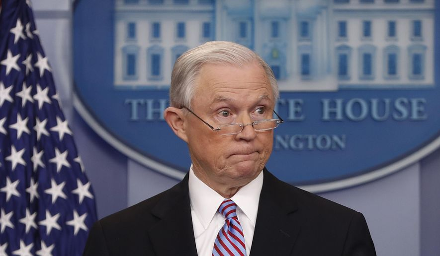 In this March 27, 2017 file photo, Attorney General Jeff Sessions pauses while speaking to members of the media during the daily briefing in the Brady Press Briefing Room of the White House in Washington.  Sessions resigned Nov. 7, 2018. as the country's chief law enforcement officer after enduring more than a year of blistering and personal attacks from President Donald Trump over his recusal from the Russia investigation. (AP Photo/Pablo Martinez Monsivais) **FILE**