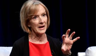 "Judy Woodruff, anchor and managing editor of ""PBS Newshour,"" takes part in a panel discussion during the 2018 Television Critics Association Summer Press Tour at the Beverly Hilton, Tuesday, July 31, 2018, in Beverly Hills, Calif. (Photo by Chris Pizzello/Invision/AP)"