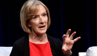 """Judy Woodruff, anchor and managing editor of """"PBS Newshour,"""" takes part in a panel discussion during the 2018 Television Critics Association Summer Press Tour at the Beverly Hilton, Tuesday, July 31, 2018, in Beverly Hills, Calif. (Photo by Chris Pizzello/Invision/AP)"""