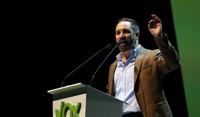 Santiago Abascal the national president of VOX delivers his speech during a rally of the fledging far-right party VOX in Madrid, Spain, Sunday, Oct. 7, 2018. Thousands of Spaniards have attended a rally of the fledging far-right party VOX as it tries to grab a foothold in Spain's political spectrum. (AP Photo/Manu Fernandez)