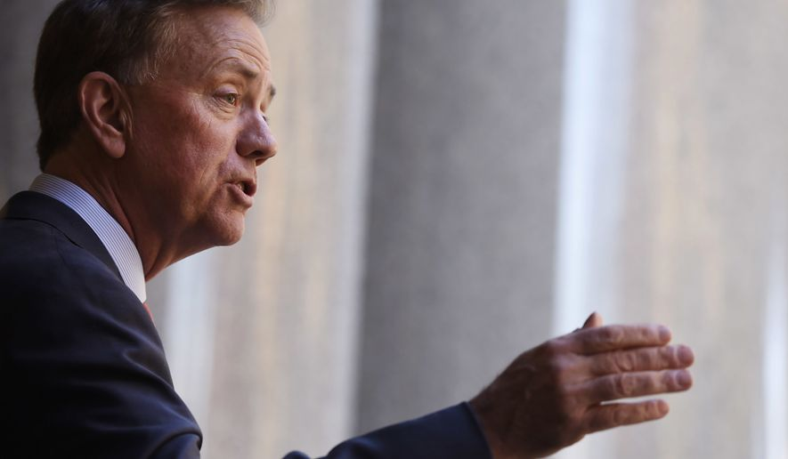 Connecticut's new governor-elect Ned Lamont gestures during a news conference introducing his transition team at the State Capitol in Hartford, Conn., Thursday, Nov. 8, 2018. (AP Photo/Jessica Hill)