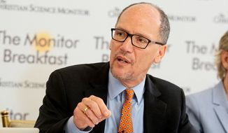 Democratic National Committee Chairman Tom Perez speaks at the Christian Science Monitor breakfast on Thursday, Nov. 8, 2018. (Courtesy of Michael Bonfigli/The Christian Science Monitor)