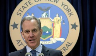 In this Feb. 11, 2016, file photo, New York Attorney General Eric T. Schneiderman speaks during a news conference in New York. (AP Photo/Mary Altaffer, File)