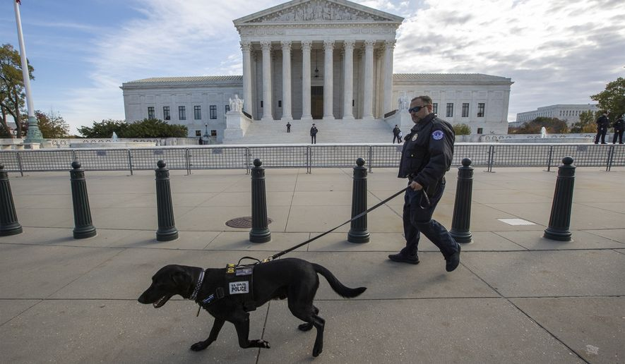 Police do a security sweep at the Supreme Court before the arrival of President Donald Trump to attend a ceremony for new Associate Justice Brett Kavanaugh, in Washington, Thursday, Nov. 8, 2018. (AP Photo/J. Scott Applewhite)