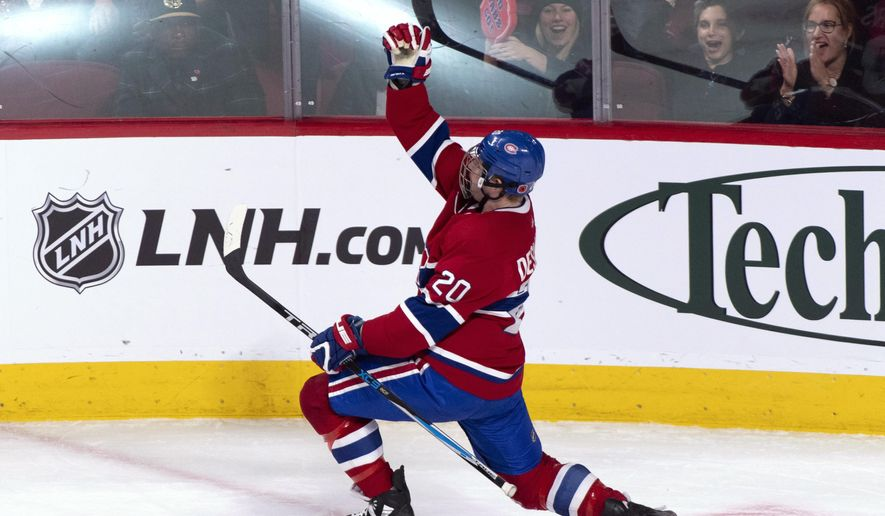 Montreal Canadiens' Nicolas Deslauriers celebrates his short-handed goal against the Buffalo Sabres during the second period of an NHL hockey game Thursday, Nov. 8, 2018, in Montreal. (Paul Chiasson/The Canadian Press via AP)
