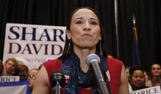 In this Tuesday, Nov. 6, 2018, file photo, then-Democrat House candidate Sharice Davids gives a victory speech to supporters at an election party in Olathe, Kan. (AP Photo/Colin E. Braley, File)