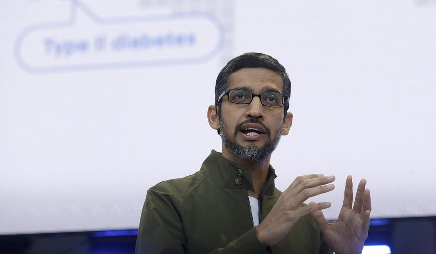 In this May 8, 2018, file photo, Google CEO Sundar Pichai speaks at the Google I/O conference in Mountain View, Calif. Google is promising to be more forceful and open about its handling of sexual misconduct cases, a week after high-paid engineers and others walked out in protest over its male-dominated culture. Pichai spelled out the concessions in an email sent Thursday, Nov. 8, to Google employees. (AP Photo/Jeff Chiu, File)