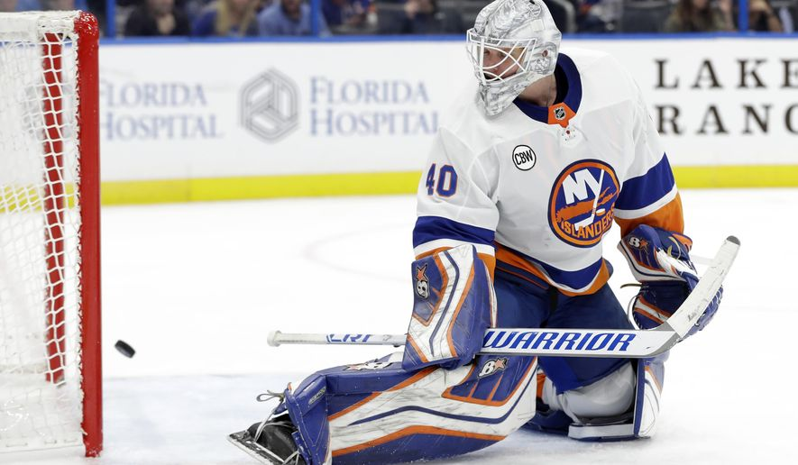 New York Islanders goaltender Robin Lehner (40) can only watch as a shot by Tampa Bay Lightning right wing Mathieu Joseph goes into the net for a goal during the second period of an NHL hockey game Thursday, Nov. 8, 2018, in Tampa, Fla. (AP Photo/Chris O'Meara)